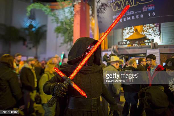 Fans emerge from a screening on opening night of Walt Disney Pictures And Lucasfilm's Star Wars The Force Awakens at the TCL Chinese Theatre on...