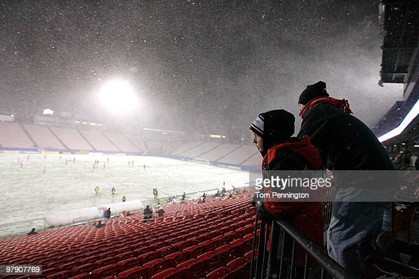 Fans endured a spring snow storm while watching FC Dallas take on the Columbus Crew during a preseason game at Pizza Hut Park on March 20 2010 in...