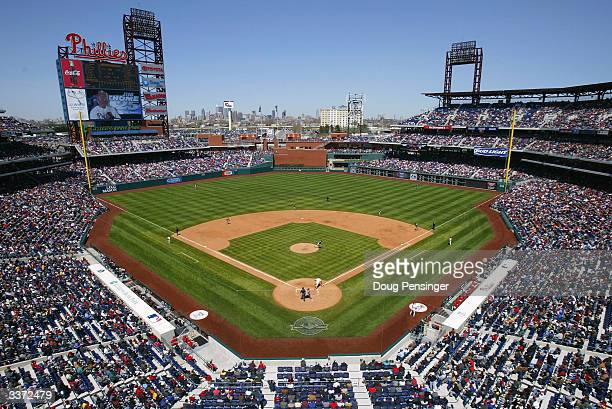 Fans enjoy a blue sky yet windy day as the Philadelphia Phillies host the Cincinnati Reds for MLB action at Citizens Bank Park on April 15 2004 in...