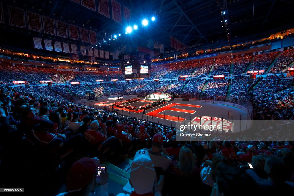 Fans enjoy a ceremony honoring Joe Louis Arena that included current and former staff and players on April 9, 2017 in Detroit, Michigan. The Detroit Red Wings beat the New Jersey Devils 4-1 in the last NHL game at the arena.