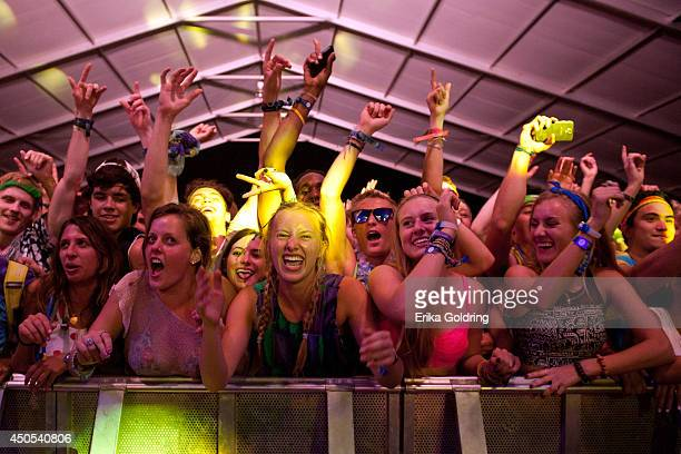 Fans enjoy Cherub's performance during the 2014 Bonnaroo Music & Arts Festival on June 12, 2014 in Manchester, Tennessee.