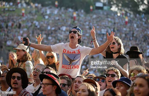 Fans enjoy DMA's perform at the Amphitheatre stage during Splendour in the Grass 2016 on July 22 2016 in Byron Bay Australia