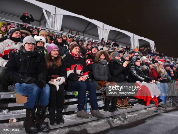 Fans enjoy the 2017 Scotiabank NHL100 Classic Ottawa Senators Alumni Game on Parliament Hill on December 15 2017 in Ottawa Canada