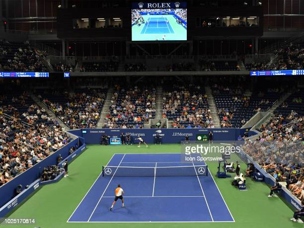 Fans enjoy the 2nd round men's singles match between Jack Sock and Nikoloz Basilashvili at the new Louis Armstrong Stadium during the US Open on...
