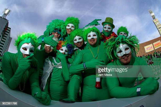 Fans enjoy the amosphere prior to the first round match between Santos Laguna and Lobos BUAP as part of the Torneo Clausura 2018 Liga MX at Corona...