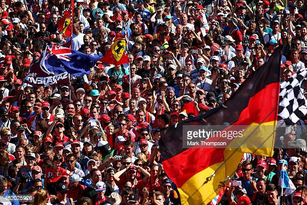 Fans enjoy the atmosphere along the pit straight after the Formula One Grand Prix of Hungary at Hungaroring on July 26 2015 in Budapest Hungary