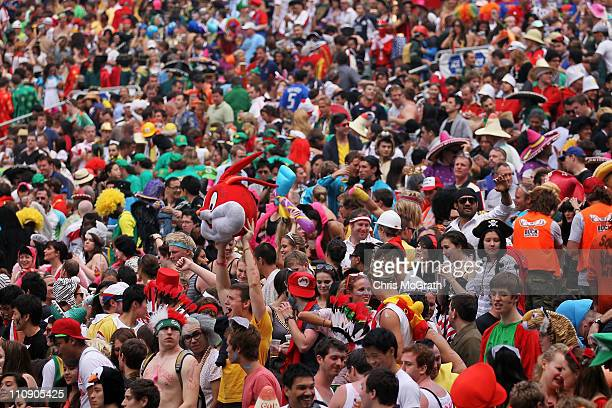 Fans enjoy the atmosphere and support their teams during day two of the IRB Sevens at Hong Kong Stadium on March 26 2011 in So Kon Po Hong Kong