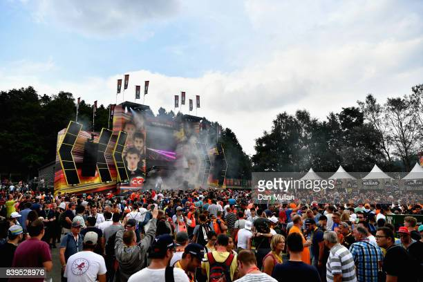 Fans enjoy the atmosphere around the circuit during qualifying for the Formula One Grand Prix of Belgium at Circuit de SpaFrancorchamps on August 26...