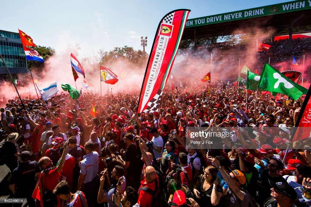 Fans enjoy the atmosphere at the podium celebrations after the Formula One Grand Prix of Italy at Autodromo di Monza on September 3, 2017 in Monza, Italy.
