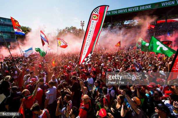 Fans enjoy the atmosphere at the podium celebrations after the Formula One Grand Prix of Italy at Autodromo di Monza on September 3 2017 in Monza...