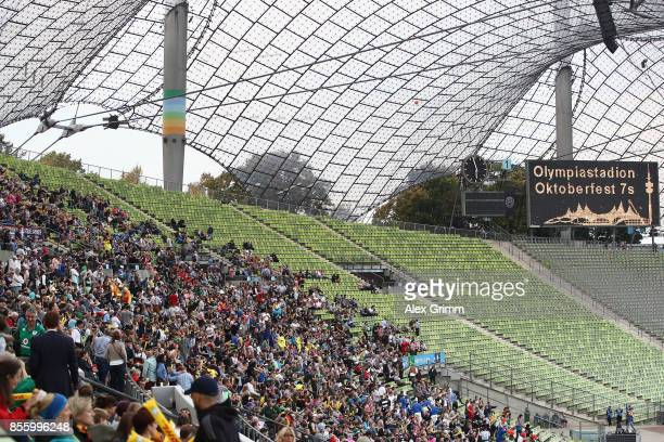 Fans enjoy the atmosphere during Day 2 of the Rugby Oktoberfest 7s tournament at Olympiastadion on September 30 2017 in Munich Germany