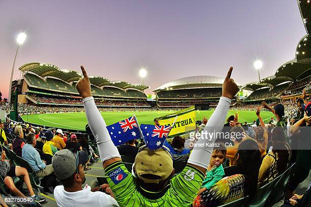 Fans enjoy the atmosphere during game five of the One Day International series between Australia and Pakistan at Adelaide Oval on January 26, 2017 in...