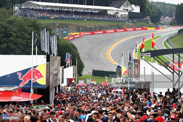 Fans enjoy the atmosphere during qualifying for the Formula One Grand Prix of Belgium at Circuit de SpaFrancorchamps on August 26 2017 in Spa Belgium