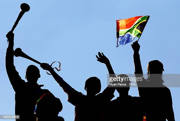 Fans enjoy the atmosphere during the 2010 FIFA World Cup South Africa Group D match between Ghana and Australia at the Royal Bafokeng Stadium on June...