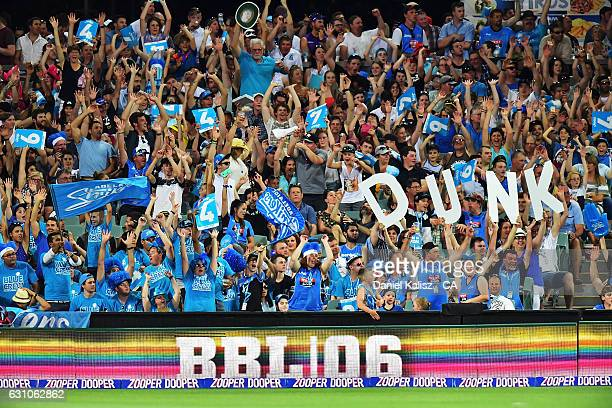 Fans enjoy the atmosphere during the Big Bash League match between the Adelaide Strikers and the Hobart Hurricanes at Adelaide Oval on January 6 2017...