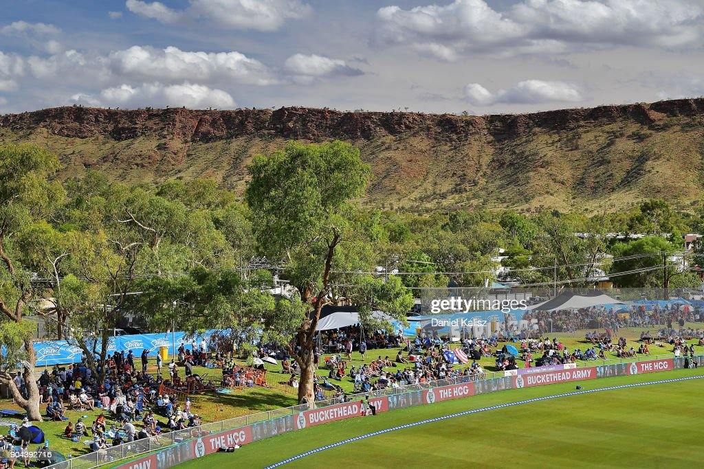 Fans enjoy the atmosphere during the Big Bash League match between the Adelaide Strikers and the Perth Scorchers at Traeger Park on January 13, 2018 in Alice Springs, Australia.