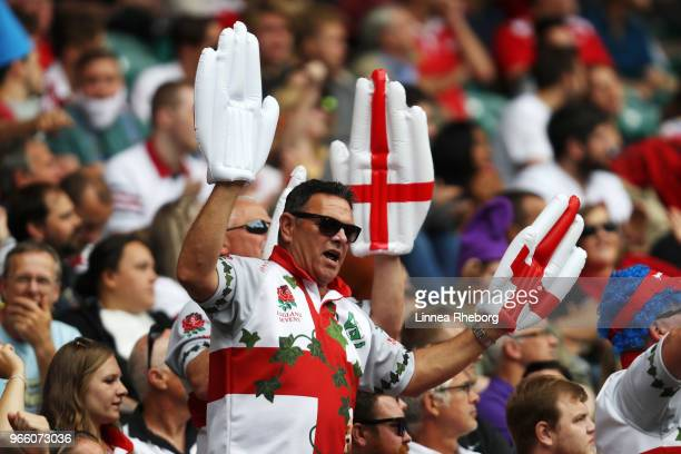 Fans enjoy the atmosphere during the HSBC London Sevens at Twickenham Stadium on June 2 2018 in London United Kingdom