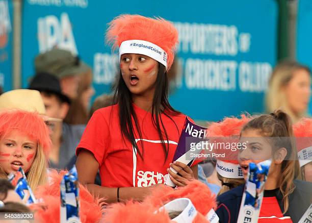 Fans enjoy the atmosphere during the Natwest Women's International T20 match between England Women and Pakistan Women at the Essex County Ground on...