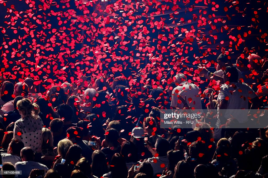 Fans enjoy the atmosphere during the Wear The Rose Live Official England Send off event hosted by O2 at The O2 Arena on September 9, 2015 in London, England. The Event saw over 14,500 England fans showing their support for the team.