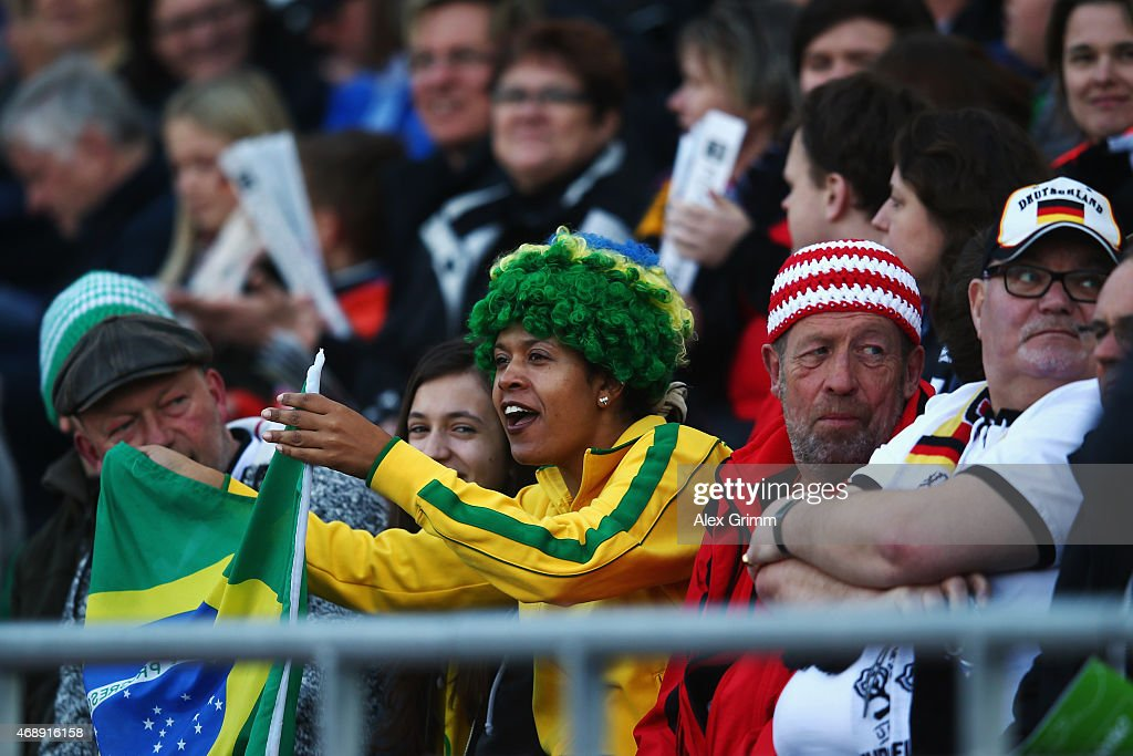 Fans enjoy the atmosphere during the Women's International Friendly match between Germany and Brazil at Trolli-Arena on April 8, 2015 in Fuerth, Germany.