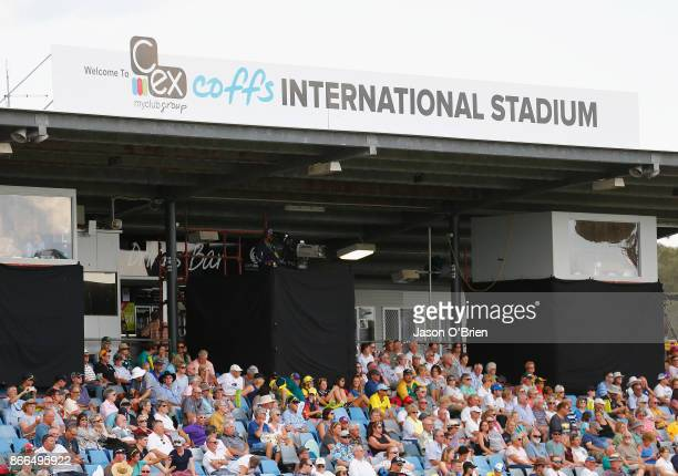 Fans enjoy the atmosphere during the Women's One Day International match between Australia and England on October 26 2017 in Coffs Harbour Australia