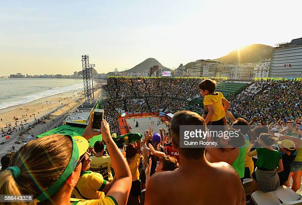 Fans enjoy the atmosphere on Day 1 of the Rio 2016 Olympic Games at the Beach Volleyball Arena on August 6, 2016 in Rio de Janeiro, Brazil.