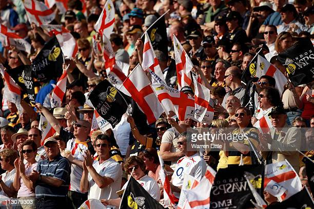 Fans enjoy the atmosphere on St George's day during the AVIVA Premiership match between London Wasps and Bath at Twickenham Stadium on April 23, 2011...
