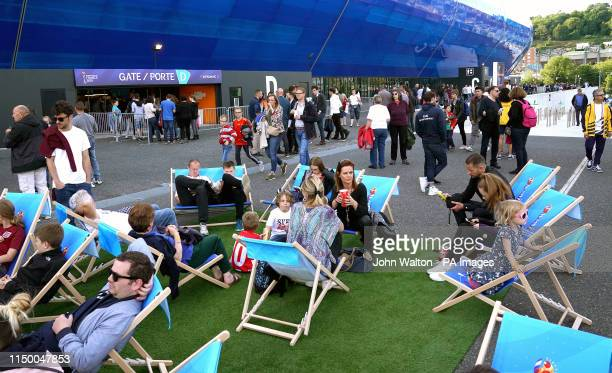 Fans enjoy the atmosphere outside the stadium prior to the FIFA Women's World Cup Group D match at Stade Oceane Le Harve