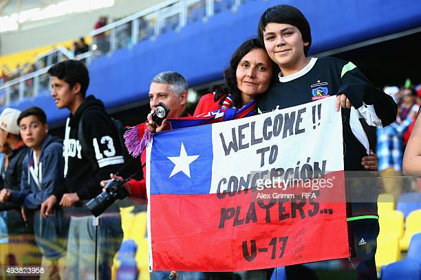 Fans enjoy the atmosphere prior to the FIFA U17 World Cup Chile 2015 Group E match between Russia and Costa Rica at Estadio Municipal de Concepcion...