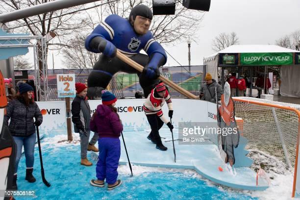 Fans enjoy the Bridgestone NHL Winter Classic Park fan festival at Millenium Park on December 29 2018 in Chicago Illinois