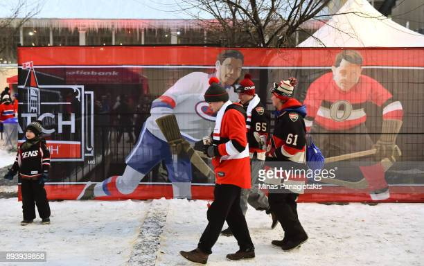 Fans enjoy the Centennial Fan Arena in advance of the 2017 Scotiabank NHL100 Classic at Lansdowne Park on December 16 2017 in Ottawa Canada