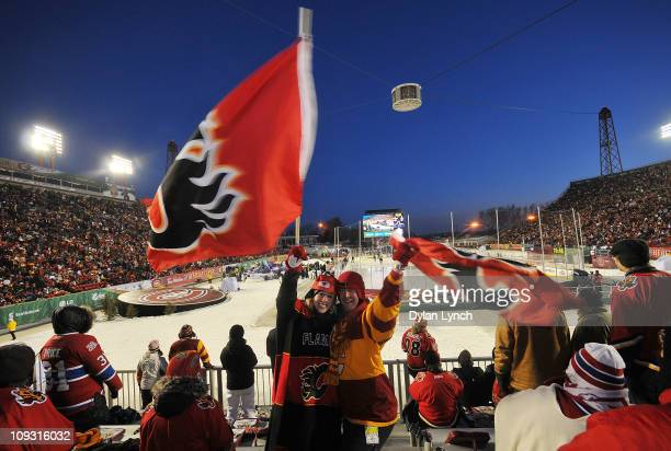 Fans enjoy the festivities surrounding the 2011 NHL Heritage Classic Game at McMahon Stadium on February 20 2011 in Calgary Alberta Canada