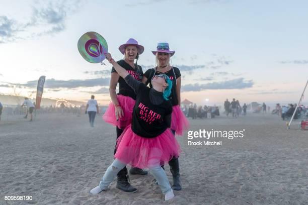 Fans enjoy the final evening of the Birdsville Big Red Bash 2017 on July 6 2017 in Birdsville Australia