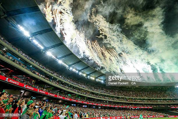 Fans enjoy the fireworks after the Big Bash League match between the Melbourne Stars and the Melbourne Renegades at Melbourne Cricket Ground on...