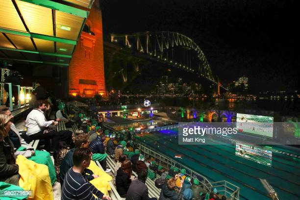 Fans enjoy the Hyundai live screening of the 2018 FIFA World Cup match between Australia and Denmark at North Sydney Pool on June 21 2018 in Sydney...