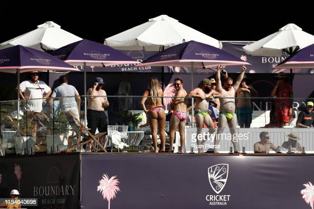 Fans enjoy the pool deck during day four of the First Test match in the series between Australia and New Zealand at Optus Stadium on December 15 2019...