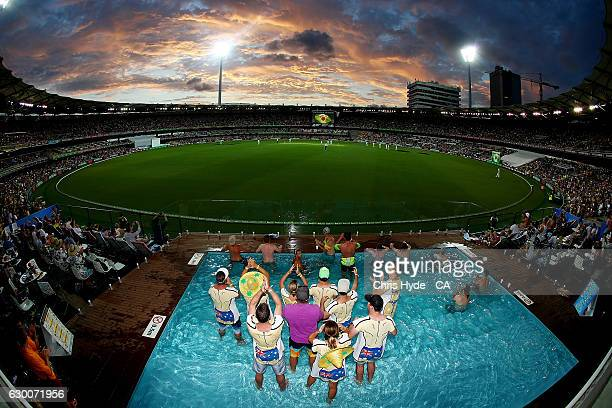 Fans enjoy the pool deck during day two of the First Test match between Australia and Pakistan at The Gabba on December 16 2016 in Brisbane Australia