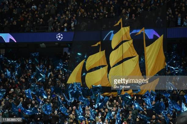 Fans enjoy the pre match atmosphere ahead of the UEFA Champions League Round of 16 Second Leg match between Manchester City v FC Schalke 04 at Etihad...
