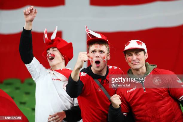 Fans enjoy the pre match atmosphere ahead of the UEFA Euro 2020 qualifier between Republic of Ireland and Denmark at Dublin Arena on November 18,...