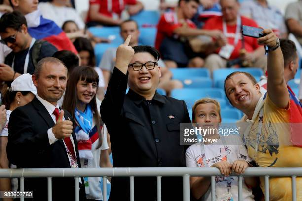 Fans enjoy the pre match atmosphere during the 2018 FIFA World Cup Russia group A match between Uruguay and Russia at Samara Arena on June 25 2018 in...