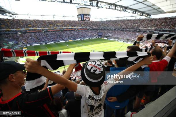 Fans enjoy the pre match atmosphere during the Bundesliga match between Eintracht Frankfurt and SV Werder Bremen at CommerzbankArena on September 1...