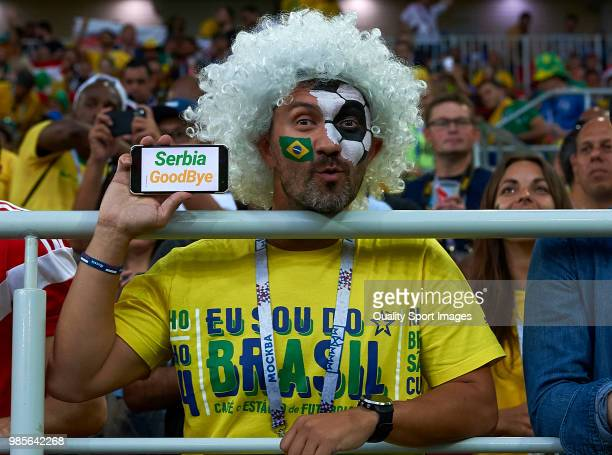 fans enjoy the pre match atmosphere prior to the 2018 FIFA World Cup Russia group E match between Serbia and Brazil at Spartak Stadium on June 27...