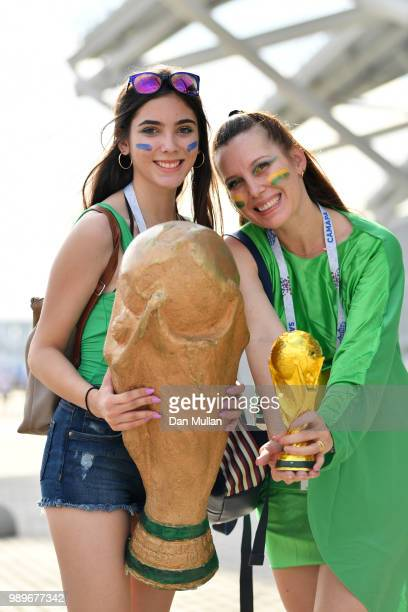 Fans enjoy the pre match atmosphere prior to the 2018 FIFA World Cup Russia Round of 16 match between Brazil and Mexico at Samara Arena on July 2...