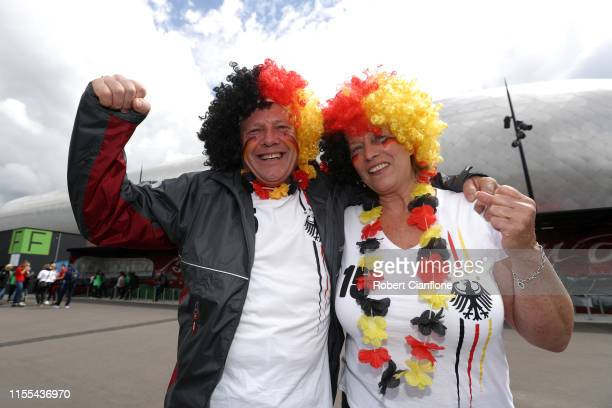 Fans enjoy the pre match atmosphere prior to the 2019 FIFA Women's World Cup France group B match between Germany and Spain at Stade du Hainaut on...