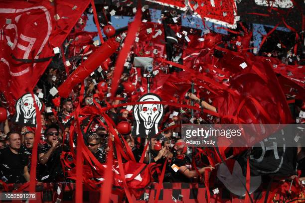 Fans enjoy the pre match atmosphere prior to the Bundesliga match between 1 FC Nuernberg and TSG 1899 Hoffenheim at MaxMorlockStadion on October 20...