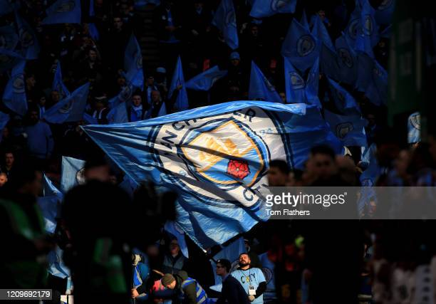 Fans enjoy the pre match atmosphere prior to the Carabao Cup Final between Aston Villa and Manchester City at Wembley Stadium on March 01 2020 in...