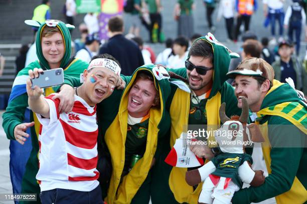 Fans enjoy the pre match atmosphere prior to the Rugby World Cup 2019 Final between England and South Africa at International Stadium Yokohama on...