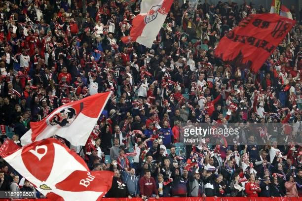 Fans enjoy the pre match atmosphere prior to the UEFA Champions League group G match between RB Leipzig and Zenit St. Petersburg at Red Bull Arena on...