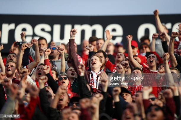 Fans enjoy the pre match atmosphere prior to the UEFA Champions League Quarter Final Leg One match between Sevilla FC and Bayern Muenchen at Estadio...
