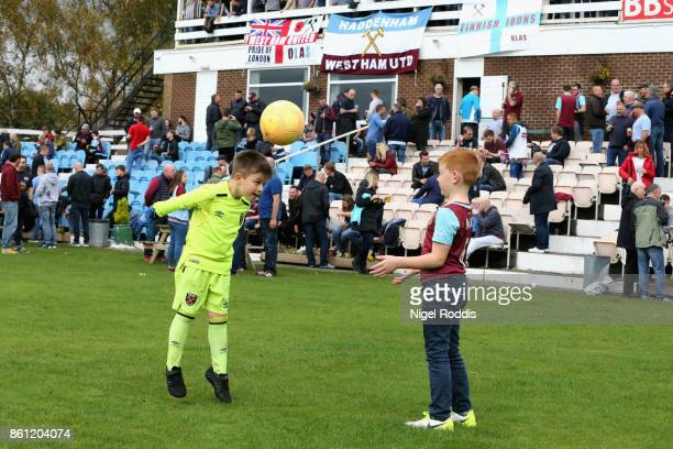 Fans enjoy the prematch atmosphere prior to the Premier League match between Burnley and West Ham United at Turf Moor on October 14 2017 in Burnley...